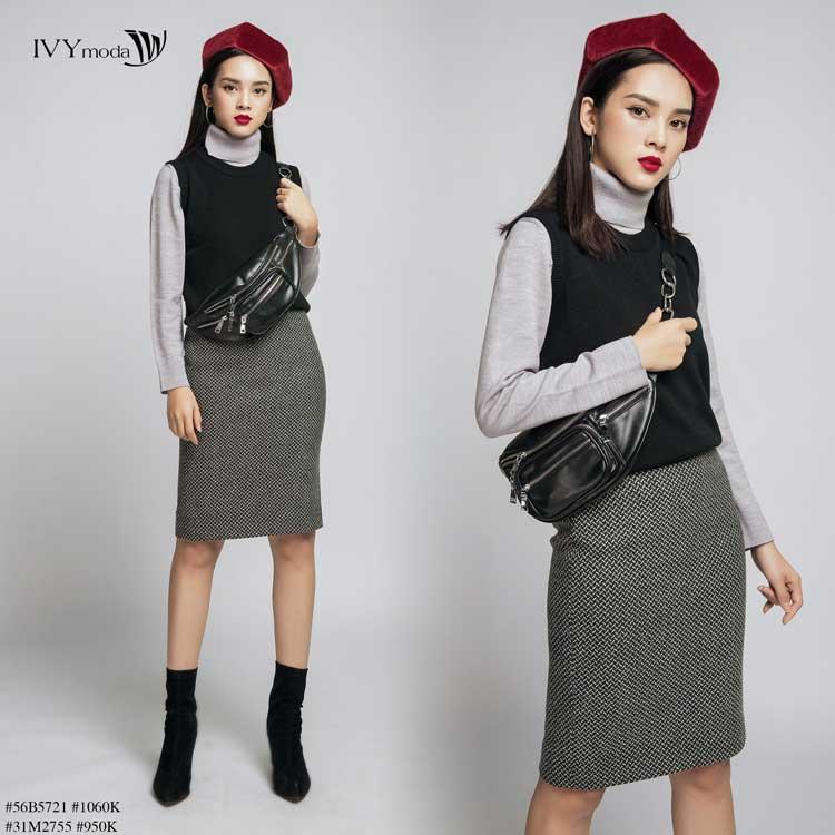 áo len nữ kết hợp với đầm