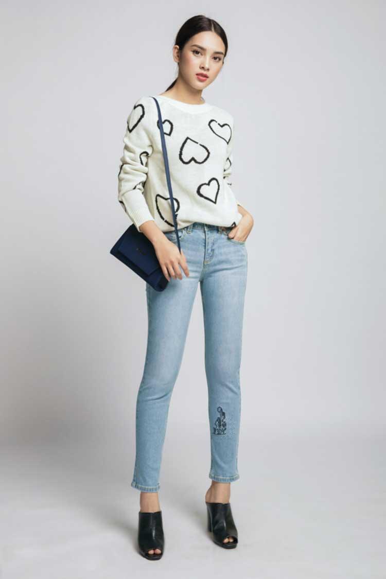 mix áo len nữ với quần jean đẹp