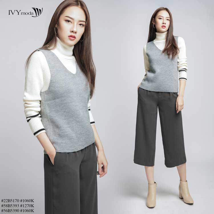 Áo len nữ kết hợp với quần ống rộng