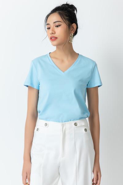 Áo thun Màu xanh dươngtay ngắn